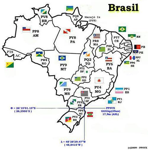 Mapa de Prefixos Radioamador